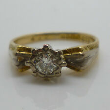 Vintage 18ct Yellow & White Gold & 0.20ct Diamond Solitaire Dress Ring ~ Size J