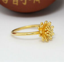 Authentic 999 24K Yellow Gold Ring 3D Daisy Design Ring Band 1pcs Size: 6