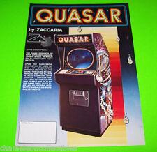 QUASAR By ZACCARIA 1980 ORIGINAL NOS SCARCE VIDEO ARCADE GAME PROMO SALES FLYER