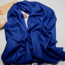 New Women's Sapphire Blue 100% Cashmere Solid Winter Warm Long Scarf Shawl Wrap