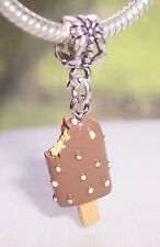 Chocolate Ice Cream Popsicle Food Dessert Dangle Bead for Euro Charm Bracelets