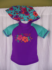 BNWT Girls Sz 1 Cute Aqua/Purple Rash Vest Top & Hat Swim Suit Set UPF 50+