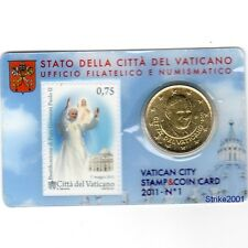Euro VATICANO 2011 COIN CARD 50 CENT + BOLLO in Folder Ufficiale