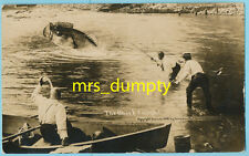 EXAGGERATION RPPC by Canadian PC Co. ~ The Bass I Caught FISHING ~ Real Photo PC