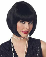 DELUXE BLACK  FLAPPER FANCY DRESS WIG 1930S 30S BOB FRINGE SHORT