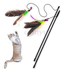 Kitten Toy Pet CAT Dangler Rod Wand Teaser Teasing Feather BELL BEAD Play Games