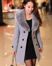 2016 Women Winter Warm Coat Long Wool Jacket Fur Collar Slim Outwear Trench coat