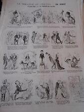 Caricature 1885 Pèle Mèle de dessins Le Théatre une demoiselle qui a du chien