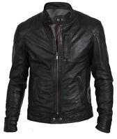 Men's Biker Hunt Black Leather Jacket