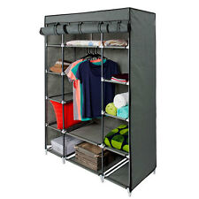 "53"" Gray Portable Closet Storage Organizer Clothes Wardrobe Rack with Shelv"