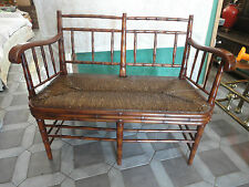Banks Coldstone by Sarreid Ltd Faux Bamboo Rush Seat Settee Loveseat