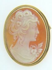 ESTATE 14 KARAT YELLOW GOLD CAMEO BROOCH / PENDANT APC-32-1 C4 VINTAGE