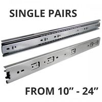(SINGLE PAIRS) FULL EXTENSION BALL BEARING DRAWER SLIDES FOR CABINETS