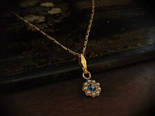 Vintage Montana Blue Crystal & Seed Pearl Drop Pendant Necklace