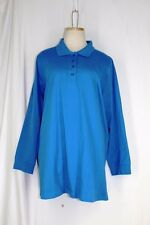 WOMAN WITHIN Polo Rugby Shirt LARGE Blue 100% Cotton Knit Long Sleeve Collar