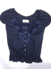 Abercrombie Kids girls Size Medium M shirt top blouse Ruffles Lace Flower Fitch