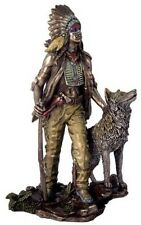 11.5 Inch Indian with Hunting Companion Figurine American Warrior Indio Native