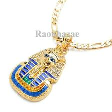 "NEW ICED OUT KING TUT EGYPTIAN PENDANT 5mm 24"" FIGARO CHAIN NECKLACE K7152G"