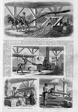 MANUFACTURE OF SUGAR NEGROES GRINDING CANE IN THE MILL BOILING JUICE SYRUP SUGAR