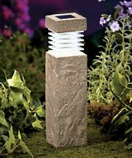 "Concrete Look Solar Pillars 11"" Tall Walkway Path Garden Driveway Light"