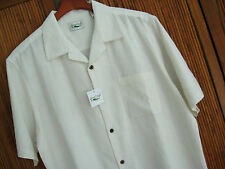 NWT Mens Silk Camp Shirt Hawaiian Ivory Floral Jacquard Classy Casual XXL 2XL 2X