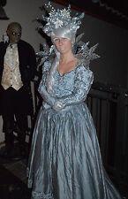 Halloween Silver Gown Victorian Ice Queen Sz 10 S/M Dress Vintage Silk Grey OOAK