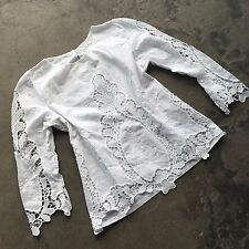 New ANTHROPOLOGIE Bohemian White Cut Out Lace Cotton Peasant Blouse Top - SMALL