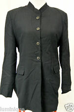 *COUNTRY ROAD* Wool Blend Suit 12 M Blazer Padded Blue Black Vintage High Neck