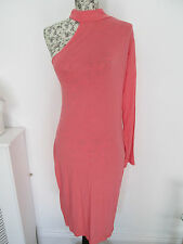 INTERNACIONALE - SALMON PINK ONE SLEEVED VISCOSE BLEND BODYCON DRESS SIZE S/M
