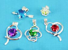 wholesale Fashion 5pcs 925sterling solid Silver mixed crystal Necklace Pendant