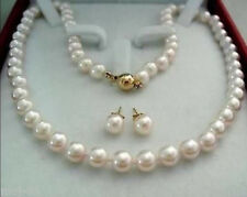 14k Gold Plated AAA FRESH WATER SHELL PEARL STUD Earrings Necklaces SET
