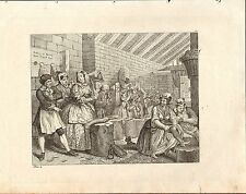 1818 HOGARTH GEORGIAN COPPER ENGRAVING ~ A HARLOT'S PROGRESS Plate 4