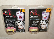 Vampire Dentures X 2 with custom fit dental putty - HALLOWEEN costume - NIP