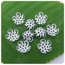 200 pcs Silver plated five flower metal Filigree beads Caps Finding 10mm P051