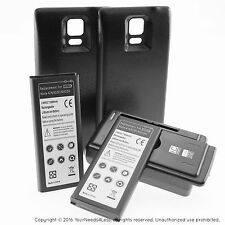 2 x 6800mAh Extended Battery for Samsung Galaxy Note 4 Black Cover Charger