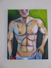 """Man Nude Sexy Gay Folk Acrylic Paint 16"""" x 20"""" Traditional Canvas Art by Ner0"""