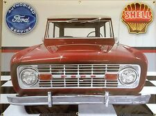 1970 FORD BRONCO RED OFF-ROAD TRUCK GARAGE SCENE BANNER SIGN MURAL ART 4 X 3