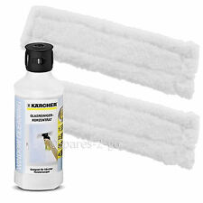 2 x KARCHER WV70 Window Vac Vacuum Cloths Covers Glass Pads + Cleaning Fluid