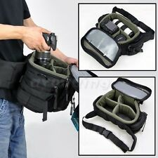 HOT Large Men Digital Cameras Shoulder Waist Bag Insert DSLR SLR For Canon Nikon