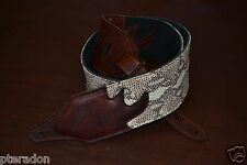 Carlino Custom Exotic Rattlesnake Embossed Guitar Strap,w/ bison leather ends