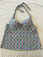 Catalina Tankini Swimsuit Top Xl 16/18 Multi Color Moded Cup Underwire Halter