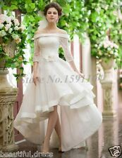 New 3/4 Sleeve Lace High Front Low Back Bridal Gown with Flower Wedding Dress