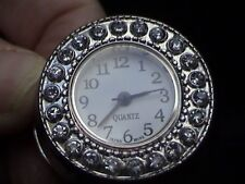 watch ring with expanding back rhinestones second hand silver tone