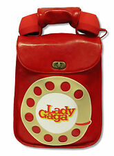 LADY GAGA RED TELEPHONE LEATHER HAND BAG PURSE WITH CELL PHONE HAND SET NEW