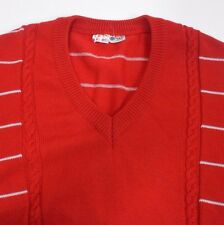 Unisex 14W38M VTG Ellesse V Neck Red Striped Wool Tennis Sweater Made in Italy