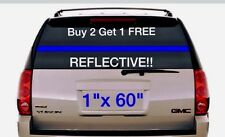 "1"" THIN BLUE LINE Stripe REFLECTIVE Window 60""  3M Banner Vinyl Decal Police"