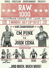 RAW IS WAR 1000 2012 John Cena CM Punk  Retro Wrestling Poster A4 8x11 WWF
