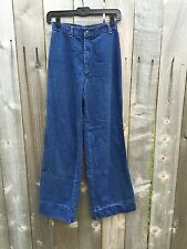 "Vintage Flare Jeans Bell Bottom High Waisted 70s Boho Hippy 24"" W Wide Leg"