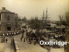 TIENTSIN TIANJIN CHINA 1890 PHOTO Albumen BUND Harbor Tallship Rickshaw Docks