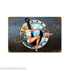Hello Sailor Navy Vintage Steel Sign USN Submarine Pin Up